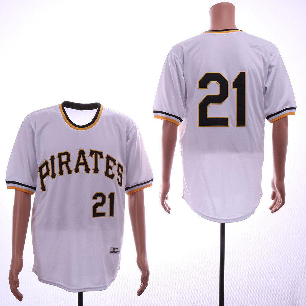 Pirates 21 Roberto Clemente White 1971 Throwback Jersey