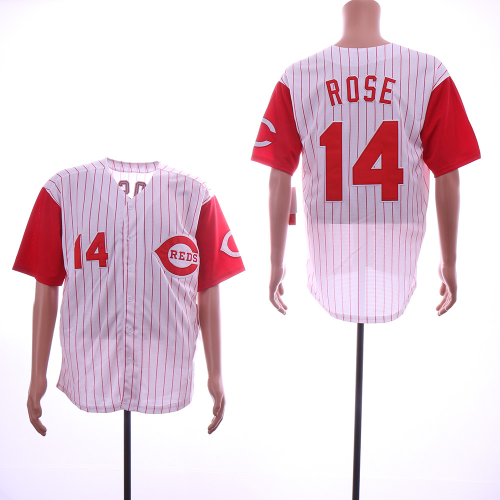 Reds 14 Pete Rose White Throwback Jersey
