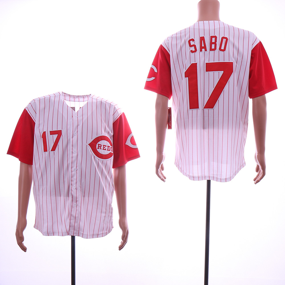 Reds 17 Chris Sabo White Throwback Jersey