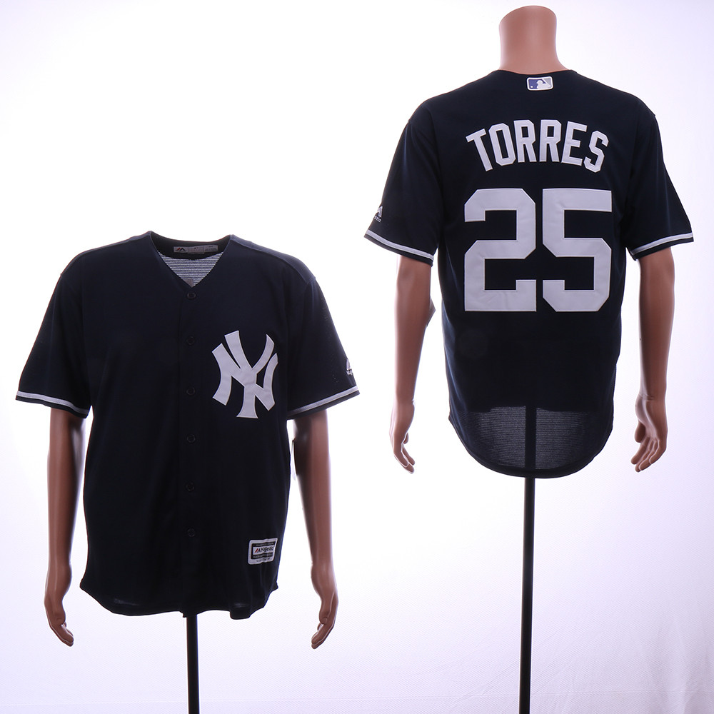 Yankees 25 Gleyber Torres Black Cool Base Jersey