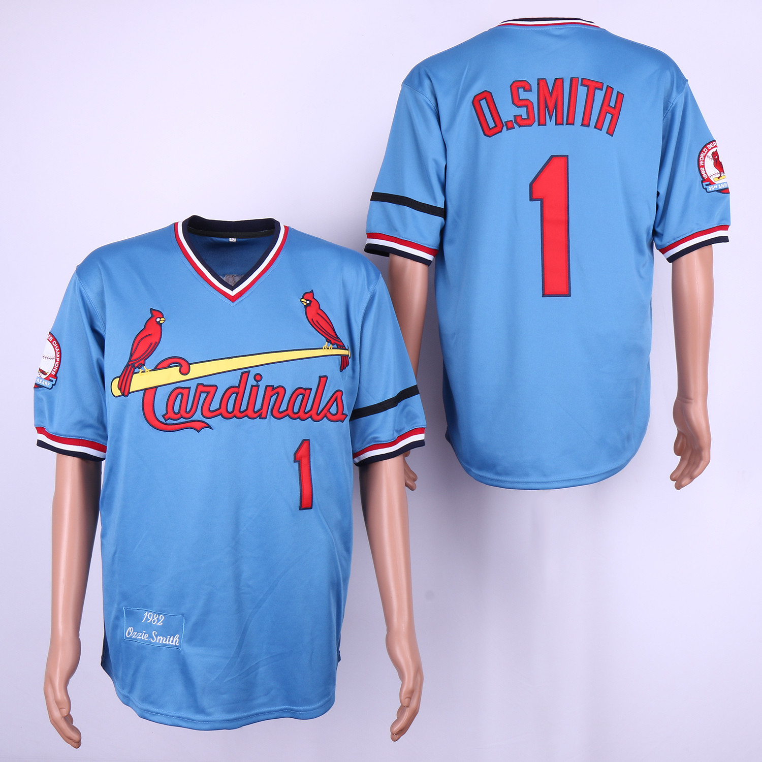 Cardinals 1 Ozzie Smith Light Blue 1982 Throwback Jersey