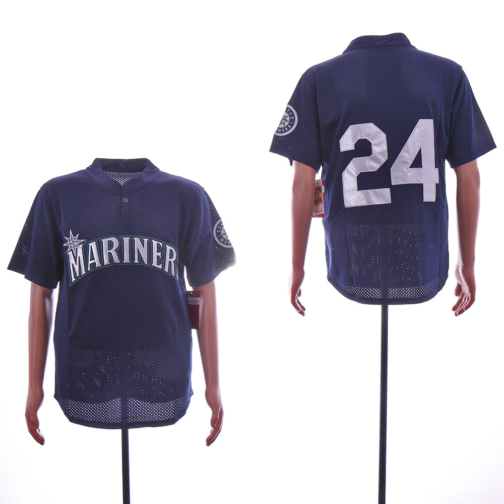 Mariners 24 Ken Griffey Jr. Navy Mesh Throwback Jersey