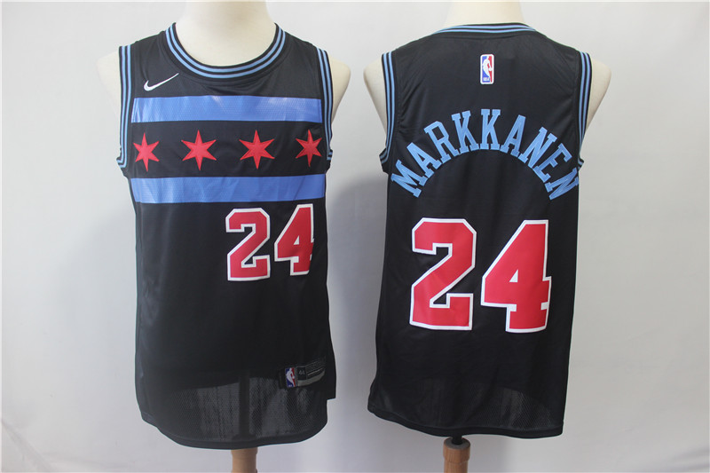 Bulls 24 Laur Markkanen Black 2018-19 City Edition Nike Swingman Jersey