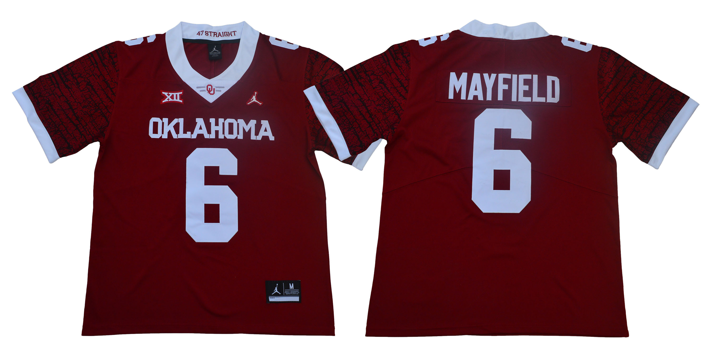Oklahoma Sooners 6 Baker Mayfield Red 47 Game Winning Streak College Football Jersey
