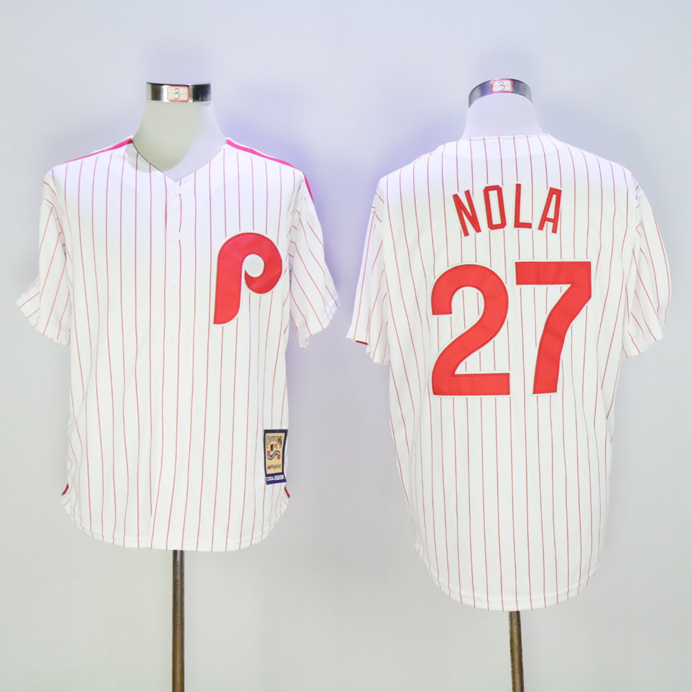 Phillies 27 Aaron Nola White Cooperstown Collection Cool Base Jersey