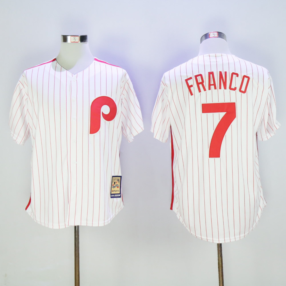 Phillies 7 Maikel Franco White Cooperstown Collection Cool Base Jersey