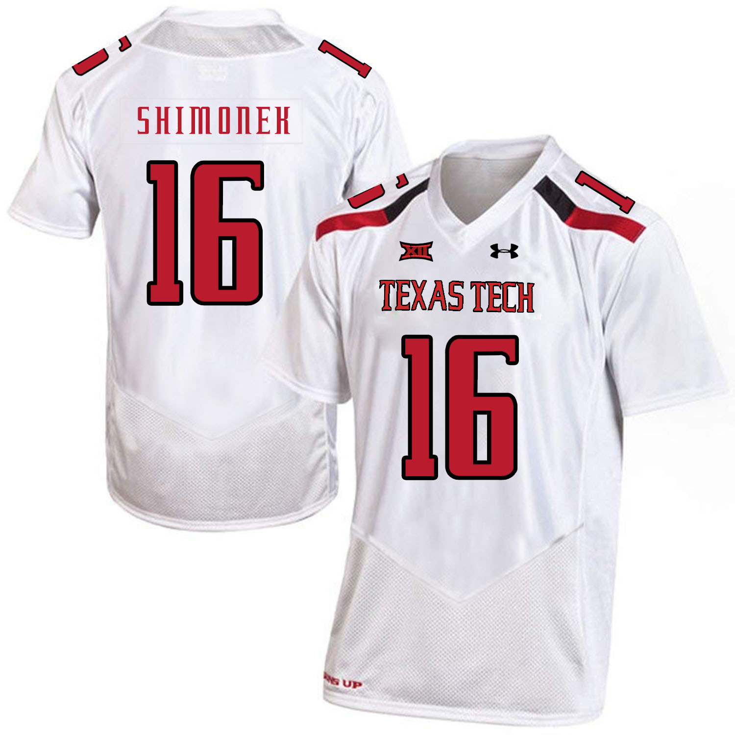 Texas Tech Red Raiders 16 Nic Shimonek White College Football Jersey