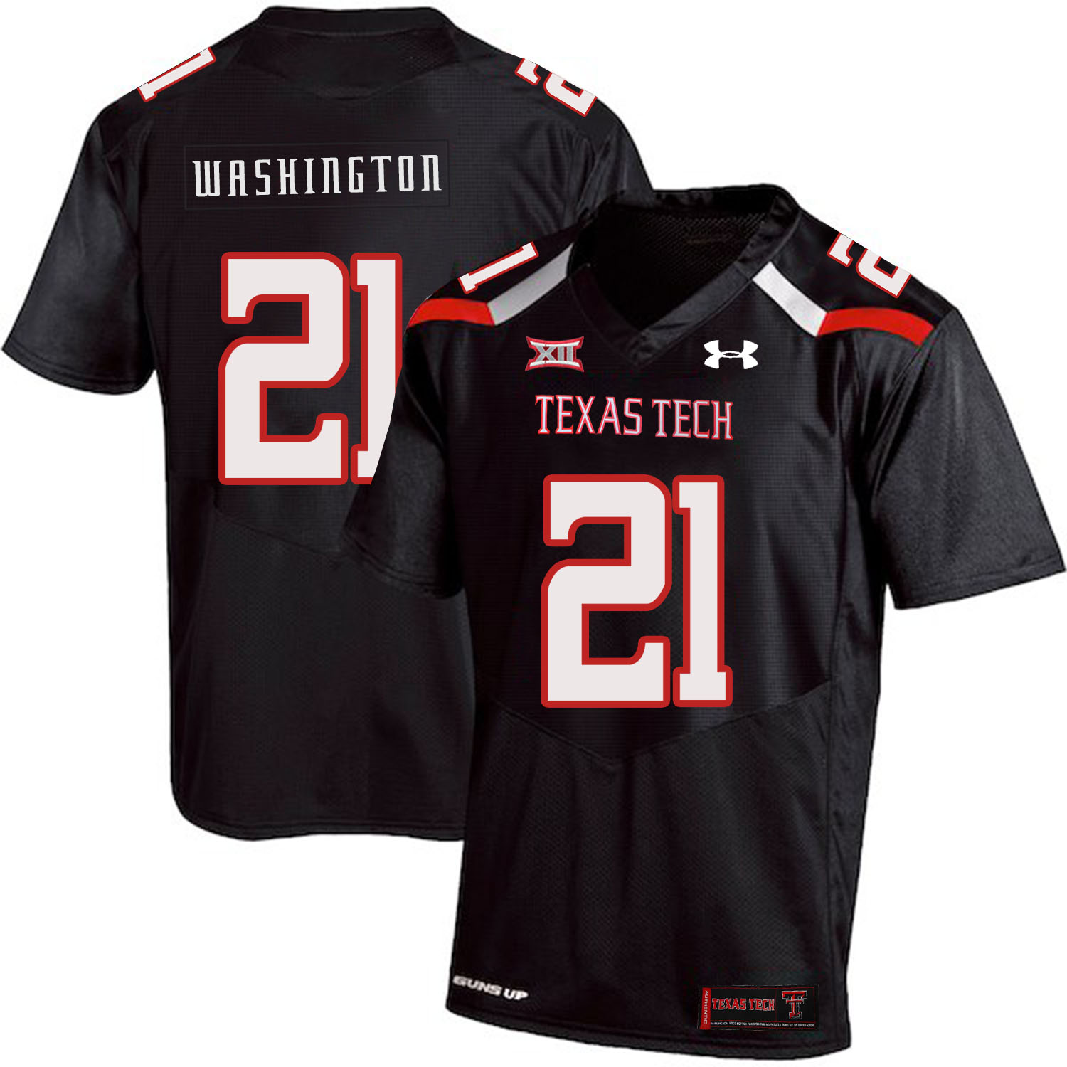 Texas Tech Red Raiders 21 DeAndre Washington Black College Football Jersey