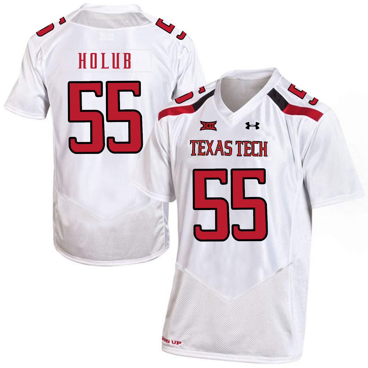 Texas Tech Red Raiders 55 E.J. Holub White College Football Jersey