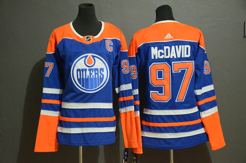 Oilers 97 Connor McDavid Royal Women Adidas Jersey
