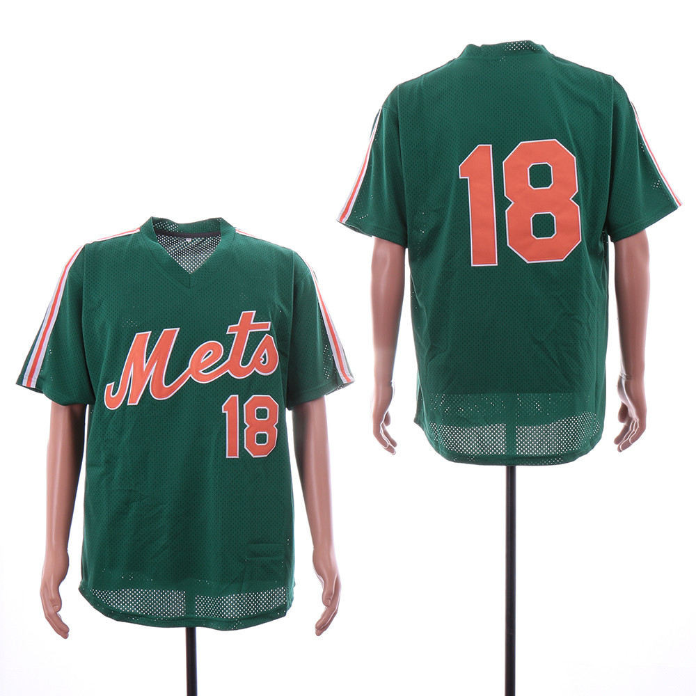 Mets 18 Darryl Strawberry Green Mesh Throwback Jersey