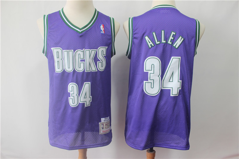 Bucks 34 Ray Allen Purple Hardwood Classics Jersey