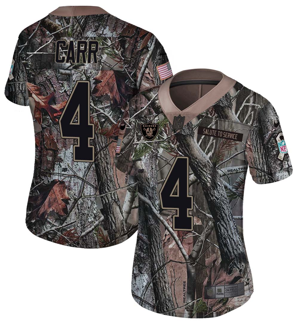 Nike Raiders 4 Derek Carr Camo Women Rush Limited Jersey