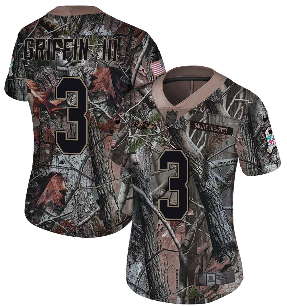 Nike Ravens 3 Robert Griffin III Camo Women Rush Limited Jersey