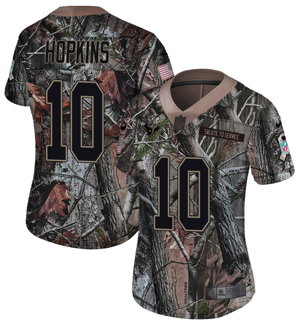 Nike Texans 10 DeAndre Hopkins Camo Women Rush Limited Jersey