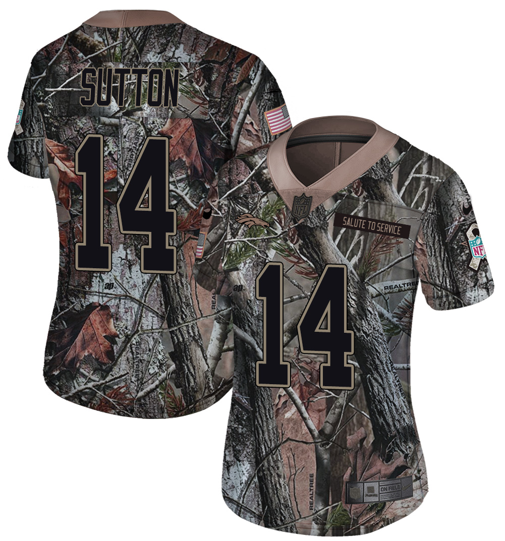 Nike Broncos 14 Courtland Sutton Camo Women Rush Limited Jersey