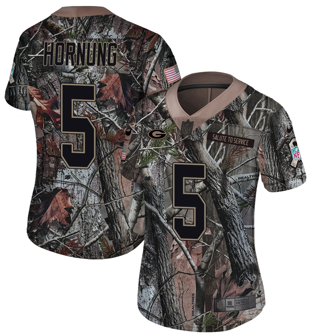Nike Packers 5 Paul Hornung Camo Women Rush Limited Jersey