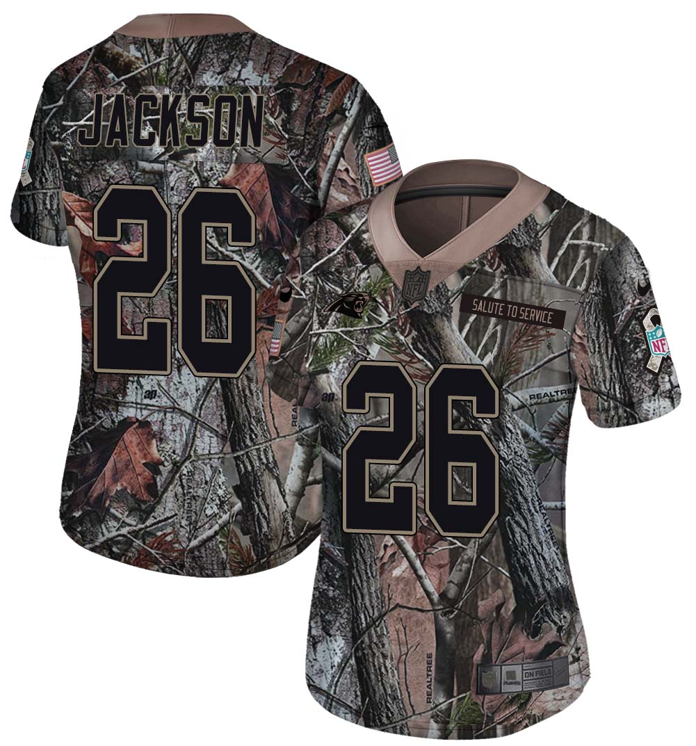 Nike Panthers 26 Donte Jackson Camo Women Rush Limited Jersey