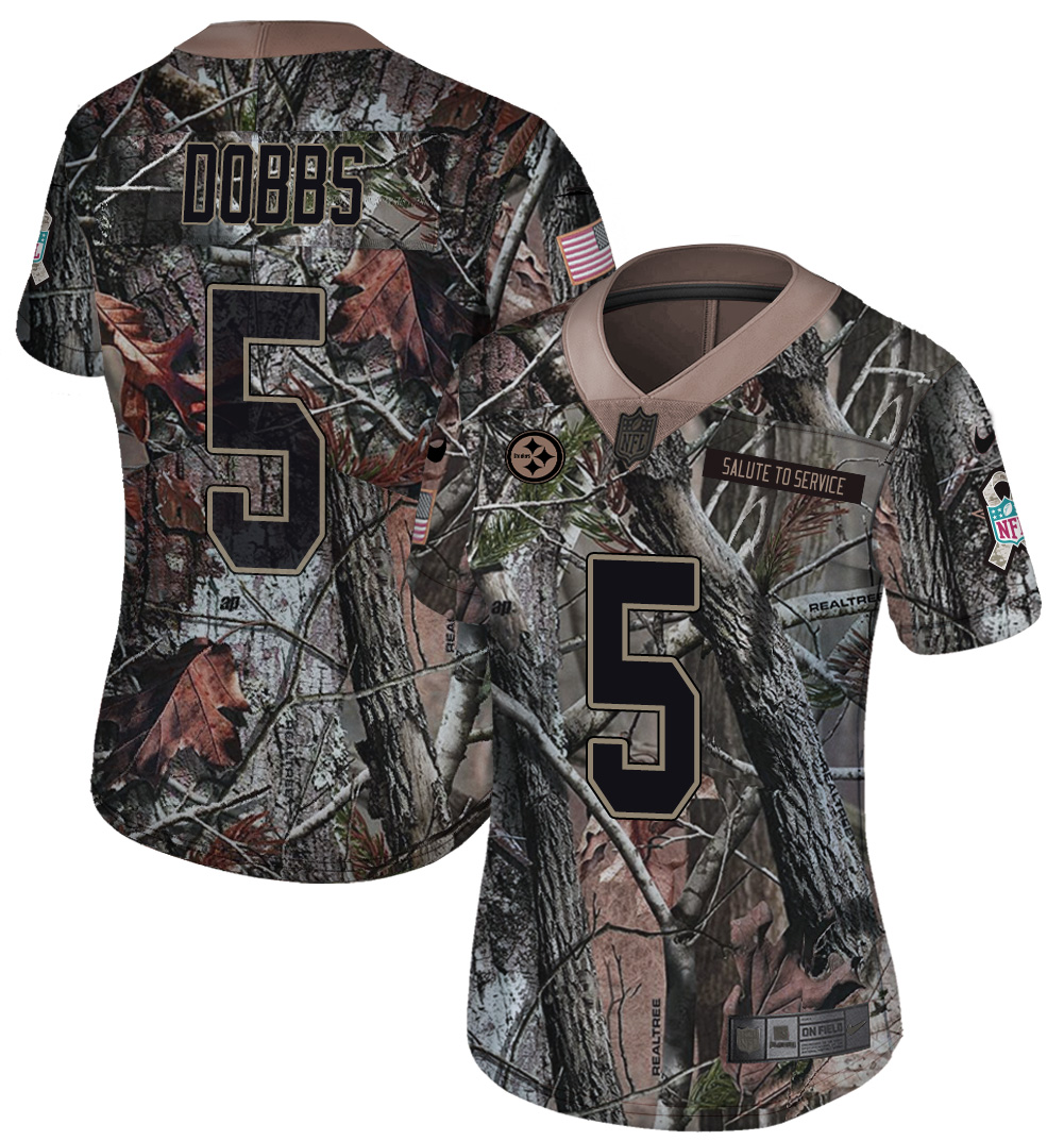 Nike Steelers 5 Joshua Dobbs Camo Women Rush Limited Jersey