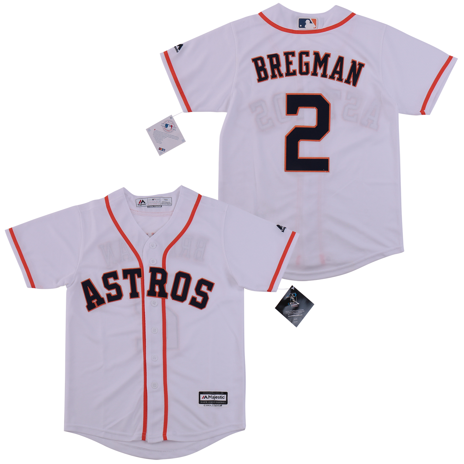 Astros 2 Alex Bregman White Youth Cool Base Jersey