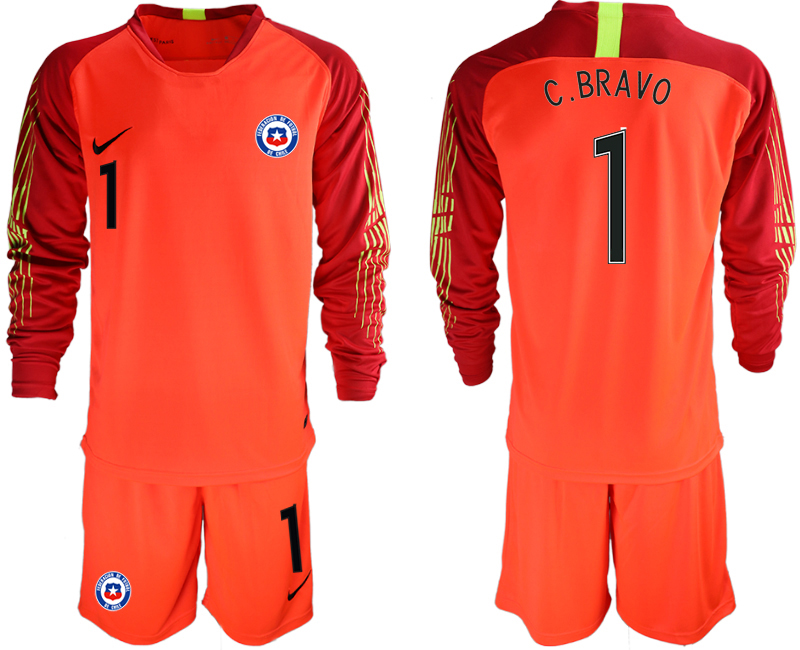 2018-19 Chile 1 C. BRAVO Red Long Sleeve Goalkeeper Soccer Jersey