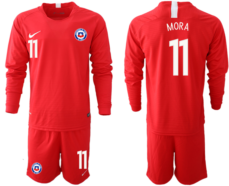 2018-19 Chile 11 MORA Home Long Sleeve Soccer Jersey