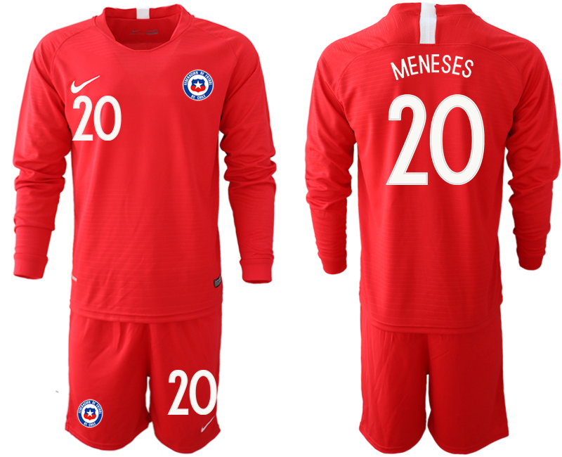 2018-19 Chile 20 MENESES Home Long Sleeve Soccer Jersey