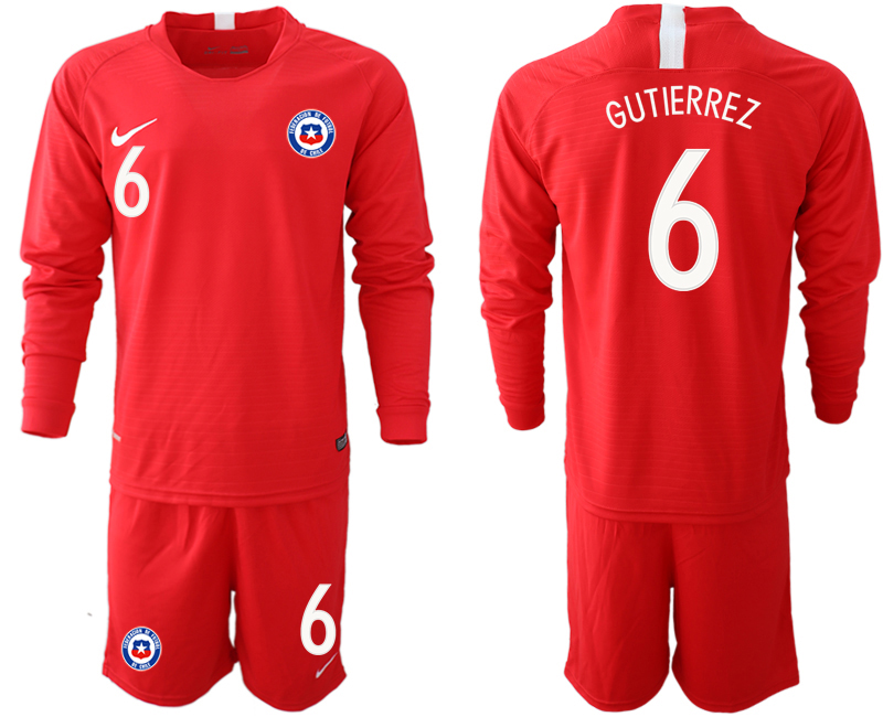 2018-19 Chile 6 GUTIERREZ Home Long Sleeve Soccer Jersey