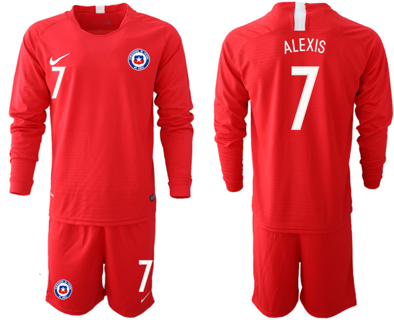 2018-19 Chile 7 ALEXIS Home Long Sleeve Soccer Jersey