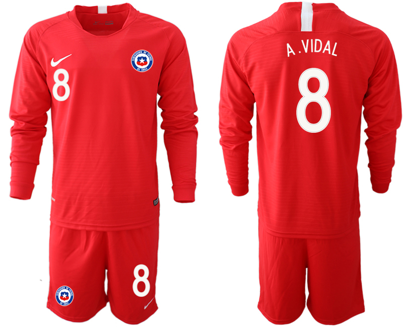 2018-19 Chile 8 A. VIDAL Home Long Sleeve Soccer Jersey