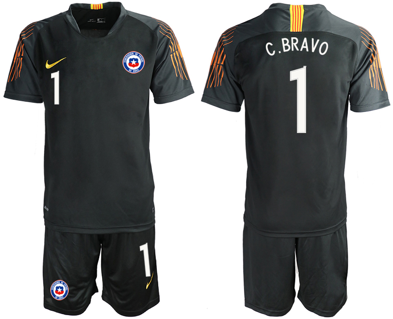 2018-19 Chile 1 C.BRAVO Black Goalkeeper Soccer Jersey