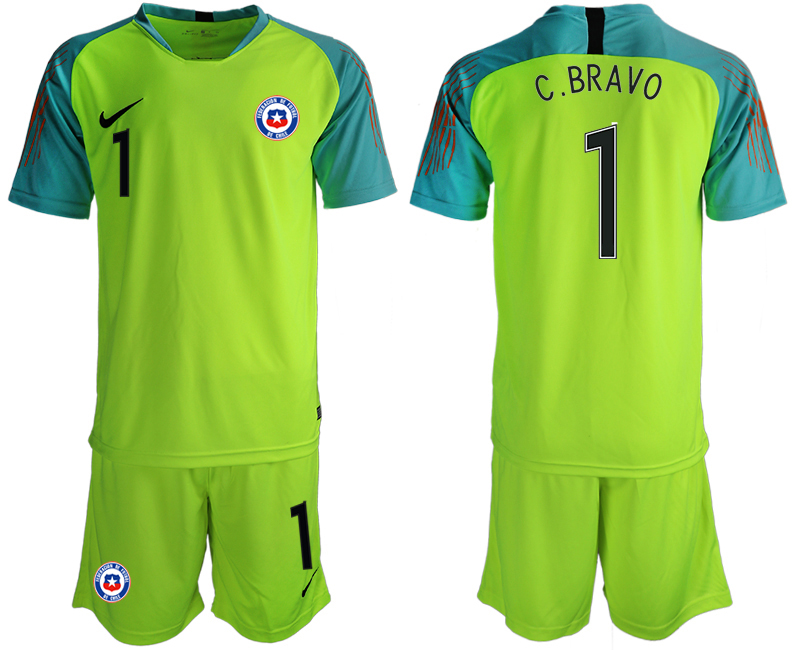 2018-19 Chile 1 C.BRAVO Fluorescent Green Goalkeeper Soccer Jersey