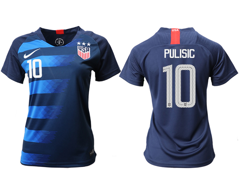 2018-19 USA 10 PULISIC Away Women Soccer Jersey