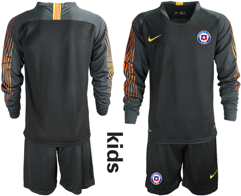 2018-19 Chile Black Youth Long Sleeve Goalkeeper Soccer Jersey