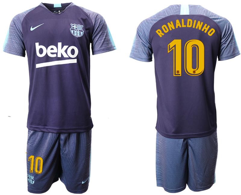 2018-19 Barcelona 10 RONALDINHO Dark Blue Training Soccer Jersey