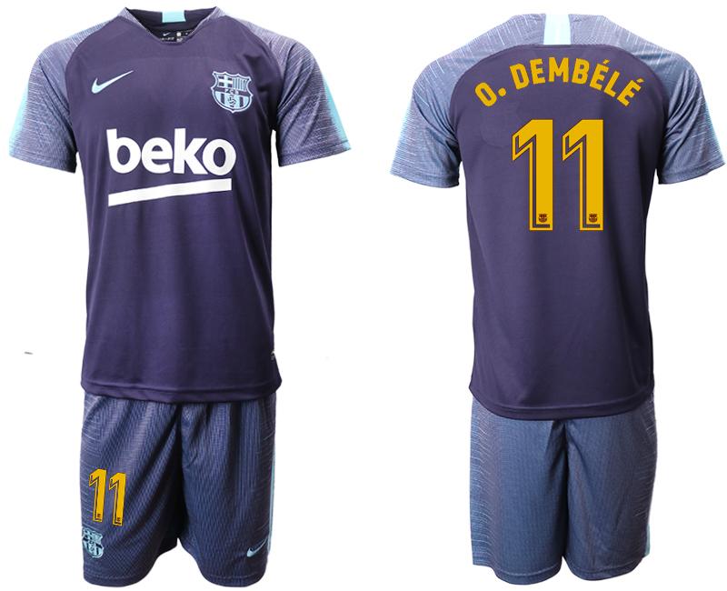 2018-19 Barcelona 11 O. DEMBELE Dark Blue Training Soccer Jersey