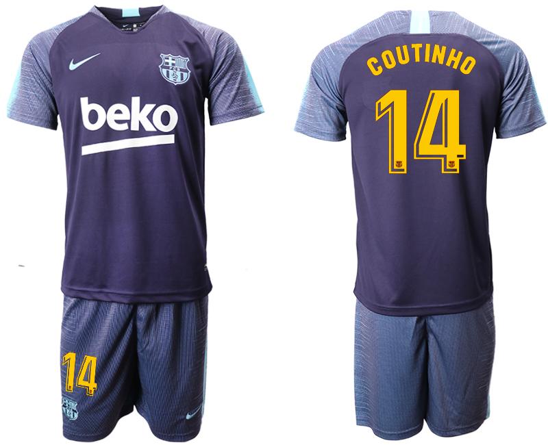 2018-19 Barcelona 14 COUTINHO Dark Blue Training Soccer Jersey