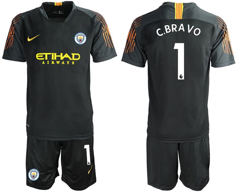 2018-19 Manchester City 1 C.BRAVO Black Goalkeeper Soccer Jersey