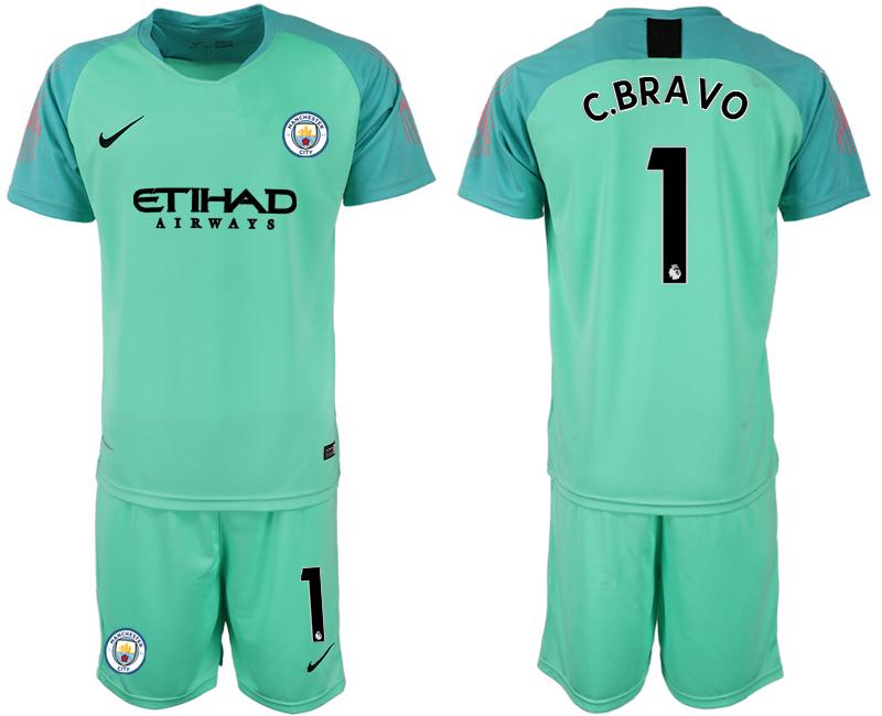 2018-19 Manchester City 1 C.BRAVO Green Goalkeeper Soccer Jersey