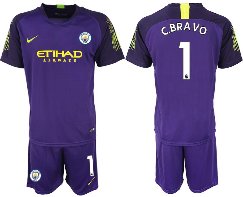 2018-19 Manchester City 1 C.BRAVO Purple Goalkeeper Soccer Jersey
