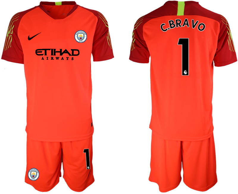2018-19 Manchester City 1 C.BRAVO Red Goalkeeper Soccer Jersey