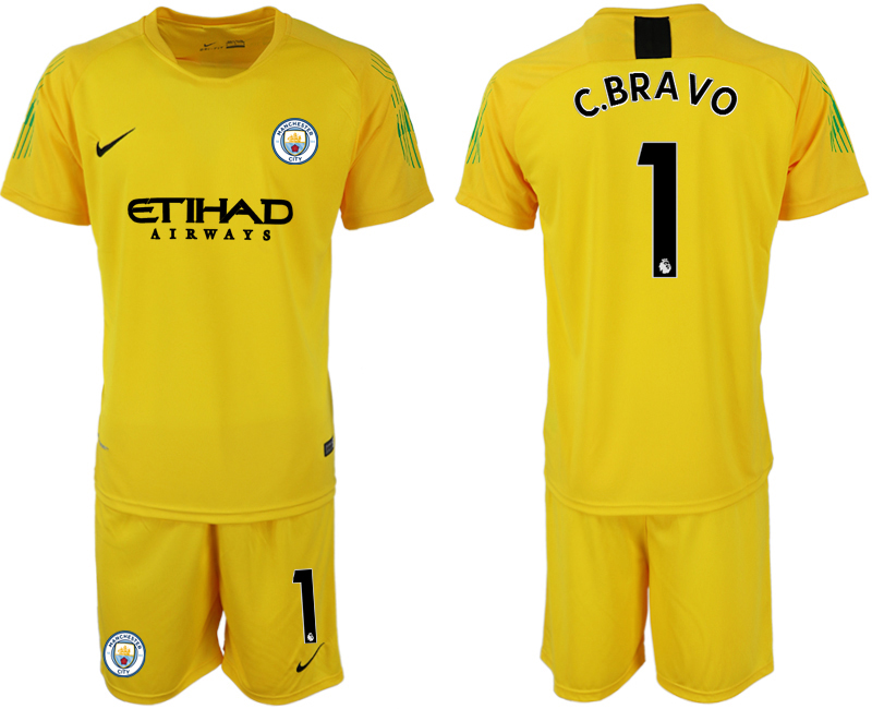 2018-19 Manchester City 1 C.BRAVO Yellow Goalkeeper Soccer Jersey