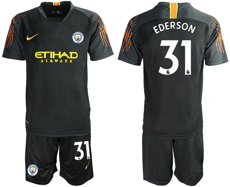 2018-19 Manchester City 31 EDERSON Black Goalkeeper Soccer Jersey(1)