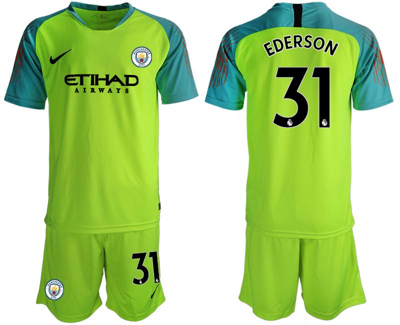 2018-19 Manchester City 31 EDERSON Fluorescent Green Goalkeeper Soccer Jersey