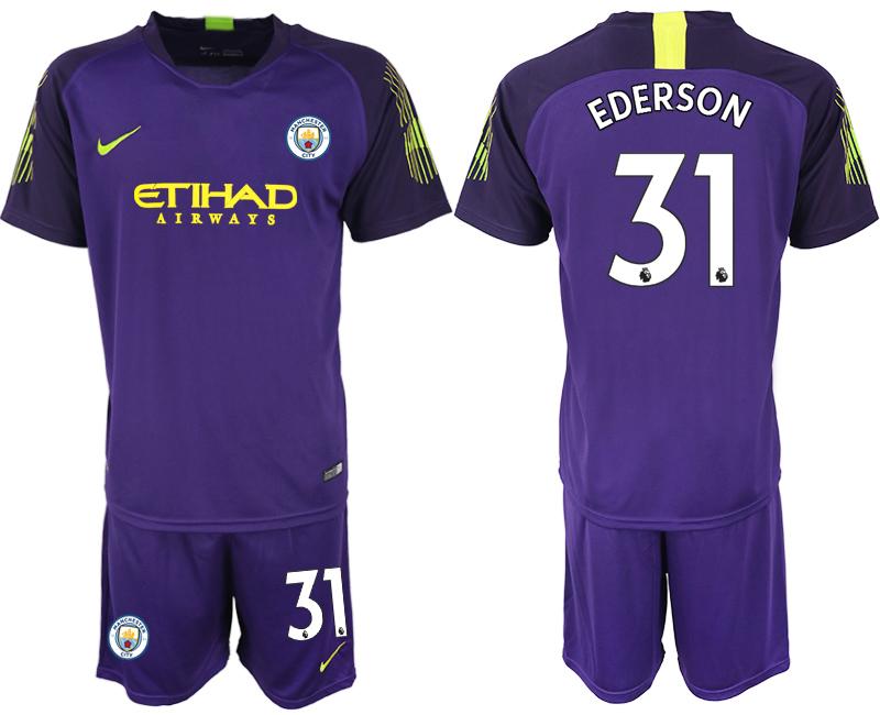 2018-19 Manchester City 31 EDERSON Purple Goalkeeper Soccer Jersey
