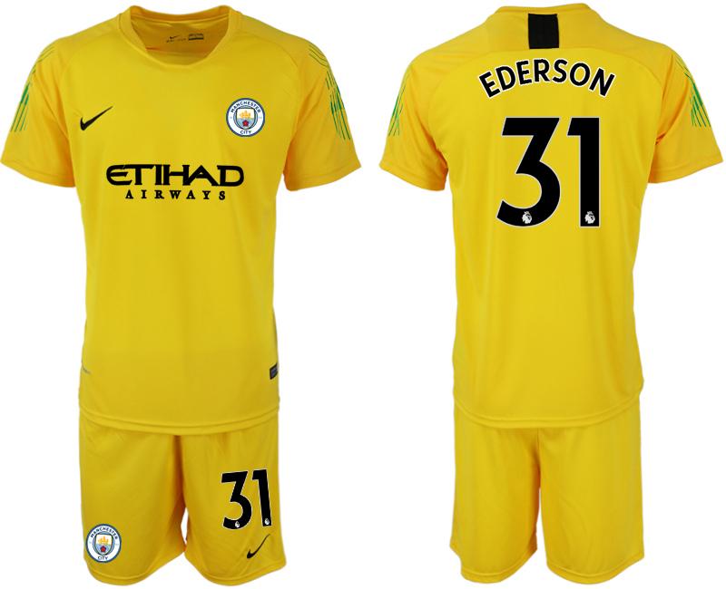 2018-19 Manchester City 31 EDERSON Yellow Goalkeeper Soccer Jersey