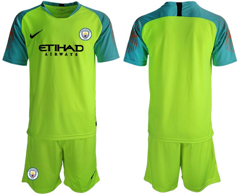 2018-19 Manchester City Fluorescent Green Goalkeeper Soccer Jersey