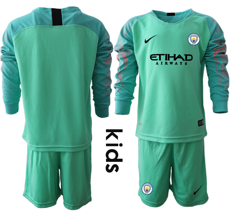 2018-19 Manchester City Green Youth Long Sleeve Goalkeeper Soccer Jersey
