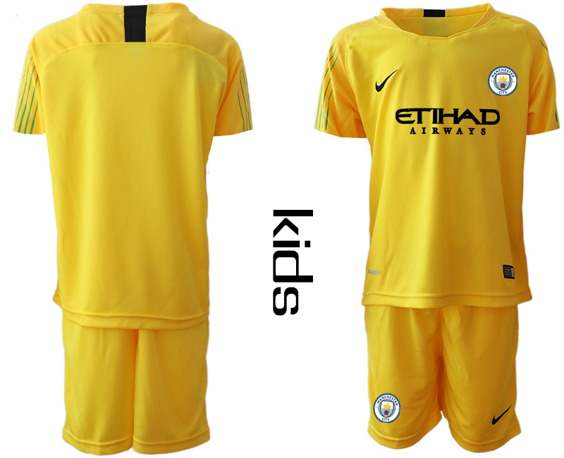 2018-19 Manchester City Yellow Youth Goalkeeper Soccer Jersey