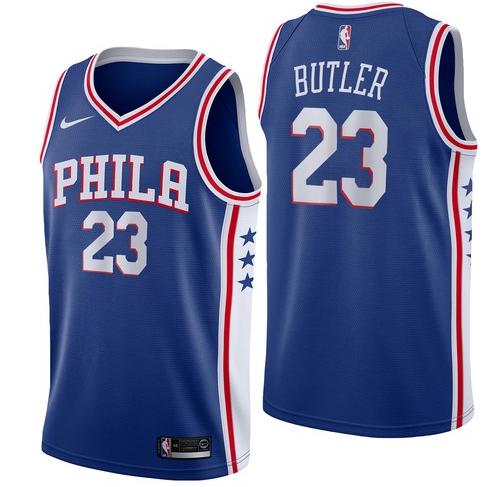 76ers 23 Jimmy Butler Blue Nike Swingman Jersey